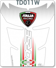 Ducati 848, 1098, 1198 Special Shape WHITE Tank Pad 2007 - 2009