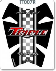 RETRO TRIUMPH TRIPLE RED TANK PAD